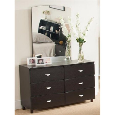 Commodious Dresser with 6 Drawers on Metal Glides, Dark Brown