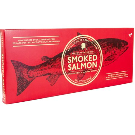 Alaska Smoked Salmon Boneless Fillet | Slow Smoked Over Alderwood Fire | Hand Filleted & Brined With a Traditional Native Recipe | Smokehouse 14 Oz Holiday Gift Box. (Smokehouse)