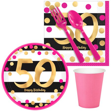 Pink & Gold 50th Birthday Snack Pack for 16](Halloween Birthday Party Snacks)
