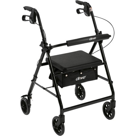 Drive Medical Walker Rollator With 6  Wheels  Fold Up Removable Back Support And Padded Seat  Black