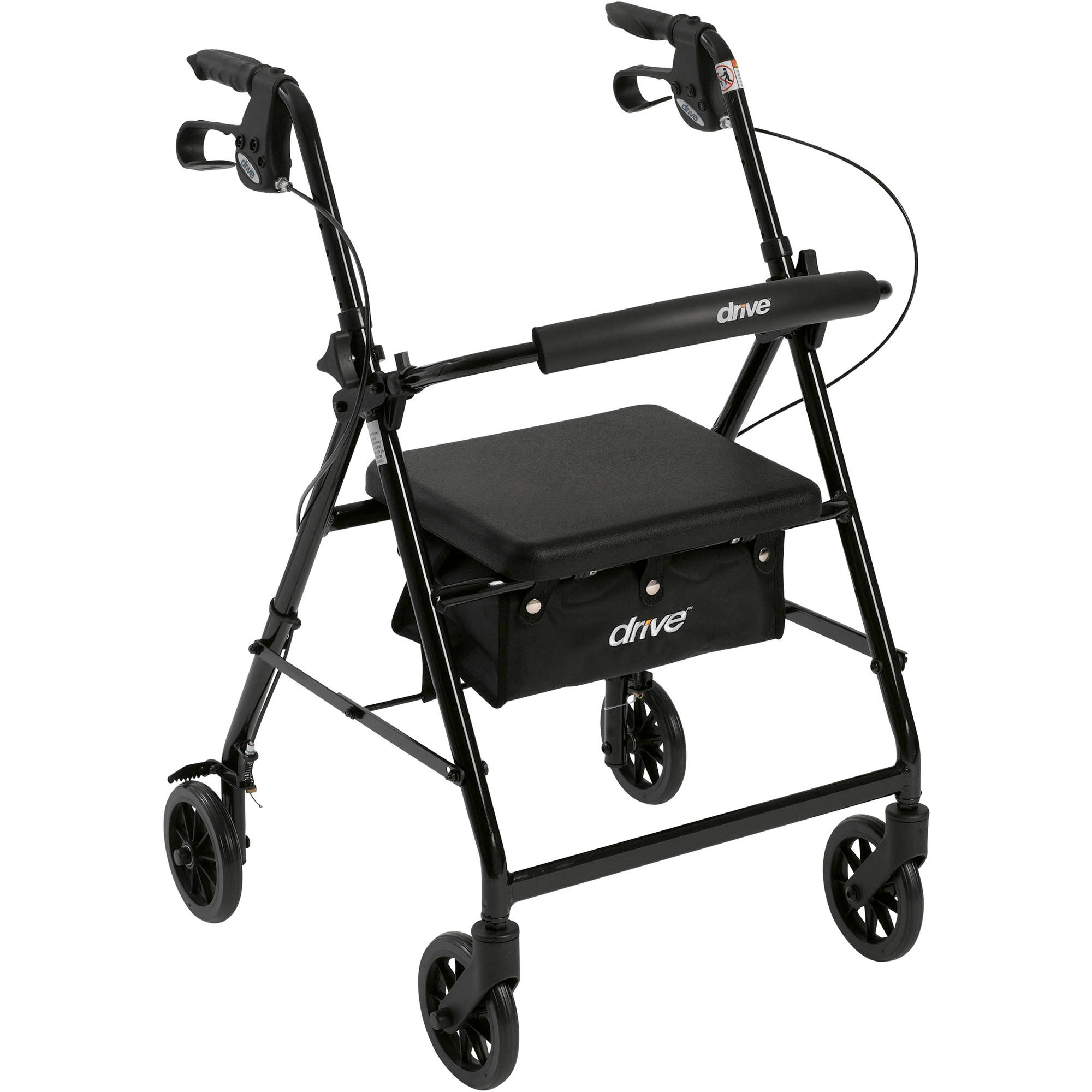 "Drive Medical Walker Rollator with 6"" Wheels, Fold Up Removable Back Support and Padded Seat, Black"