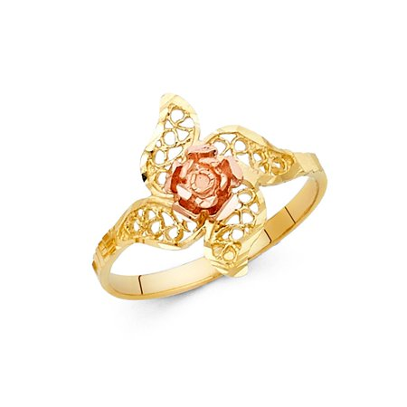 14k Two Tone Italian Solid Gold 15mm Floral Flower Petals Circle Cut-Out Stylish Band Ring Size 7.5 Available All (Two Tone Flower Circle)
