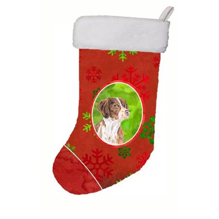 Carolines Treasures SC9429-CS 11 x 18 in. Brittany Red And Green Snowflakes Holiday Christmas Christmas Stocking - image 1 of 1