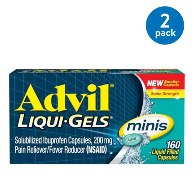 (2 Pack) Advil Liqui-Gels minis (160 Count) Pain Reliever / Fever Reducer Liquid Filled Capsule, 200mg Ibuprofen, Easy to Swallow, Temporary Pain Relief