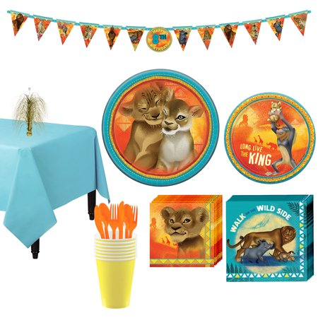 Party City Lion King Tableware Party Supplies for 8 Guests, 83 Pieces - Party City Davenport