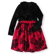 Girls' Lace Ruffled Dress with Velvet Shrug