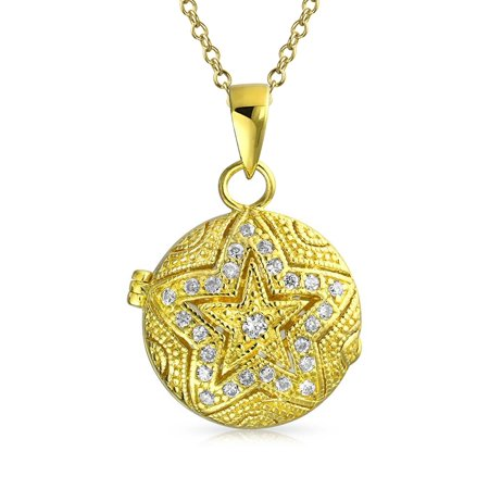 Vintage Style Round Star Locket Pendant Filigree Cubic Zirconia CZ Necklace for Women 14K Gold Plated Sterling Silver