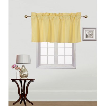 - RS9 1-Piece YELLOW Swag Straight Insulated Foam Lined Blackout Rod Pocket Window Valance 38