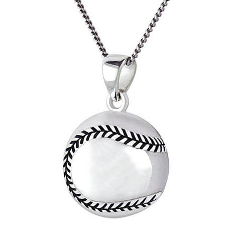 0.925 Sterling Silver Small 3D Baseball Ball Sports Charm Pendant Necklace New Pierced Baseball Pendant