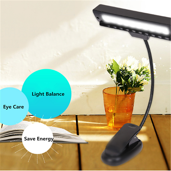 9 LED Flexible Clip-on Music Stand Reading Light Bed Table Desk Lamp by