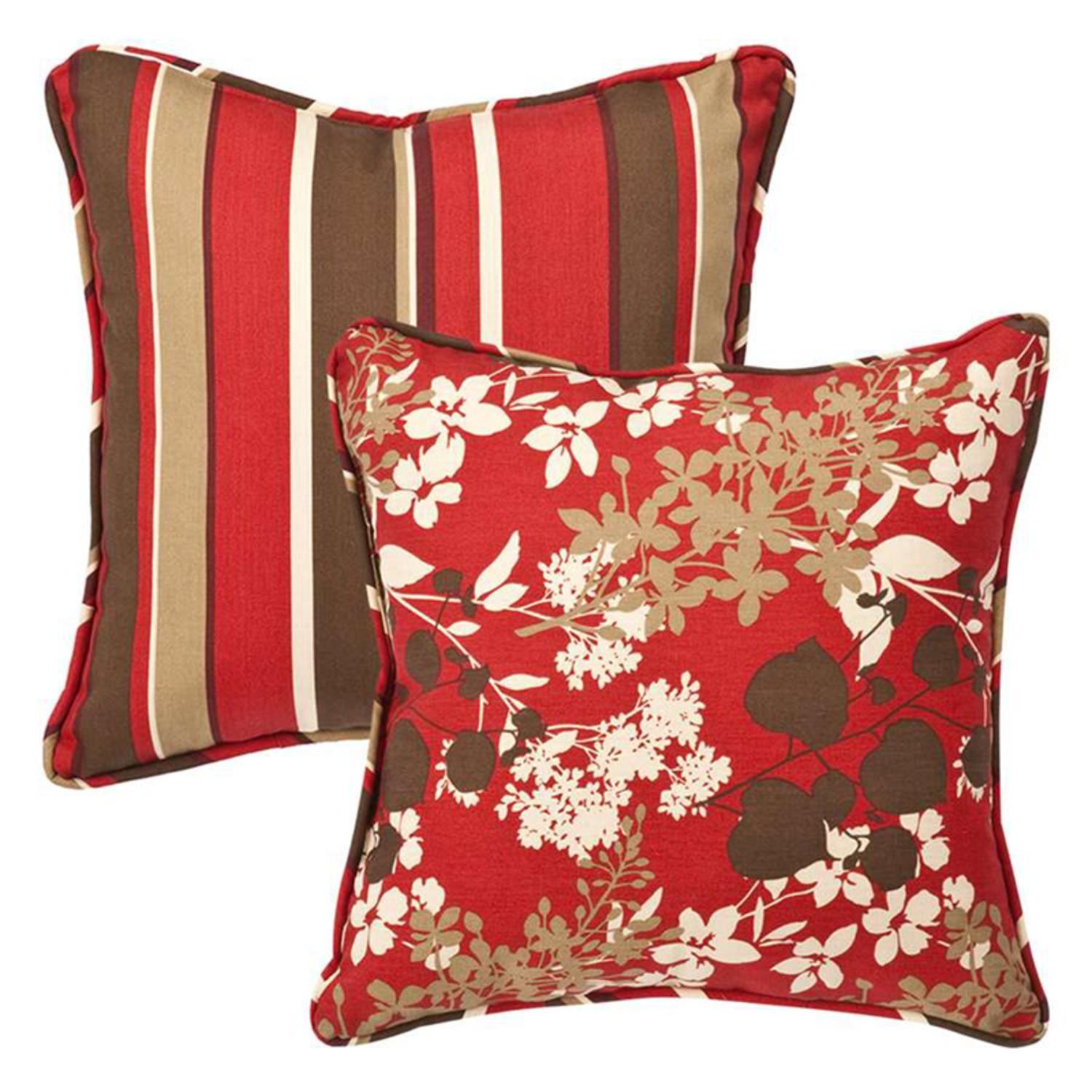 "Pack of 2 Outdoor Patio SquareThrow Pillows 18.5"" Reversible Tropical Red Stripe"