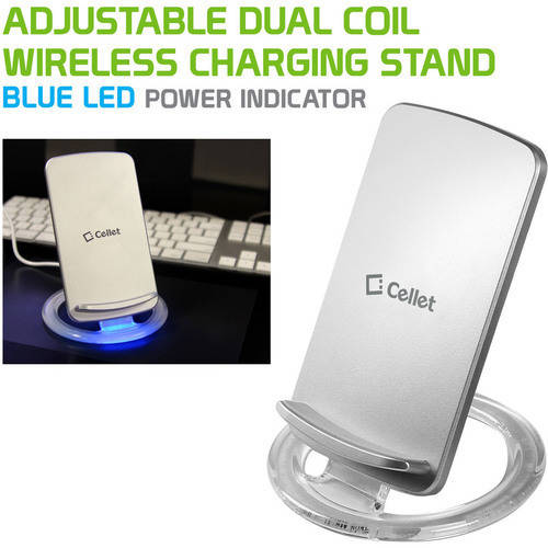 Cellet Adjustable Dual Coil Wireless Charging Stand for all Wireless (Qi) Enabled Devices