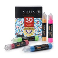 Arteza 3D Fabric Paint, Classic, Fluorescent, Metallic, Glitter & Glow in the Dark Colors, 30ml Bottles - Set of 30