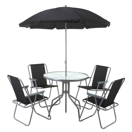 Palm springs outdoor dining set with table 4 chairs and for Patio table and umbrella sets
