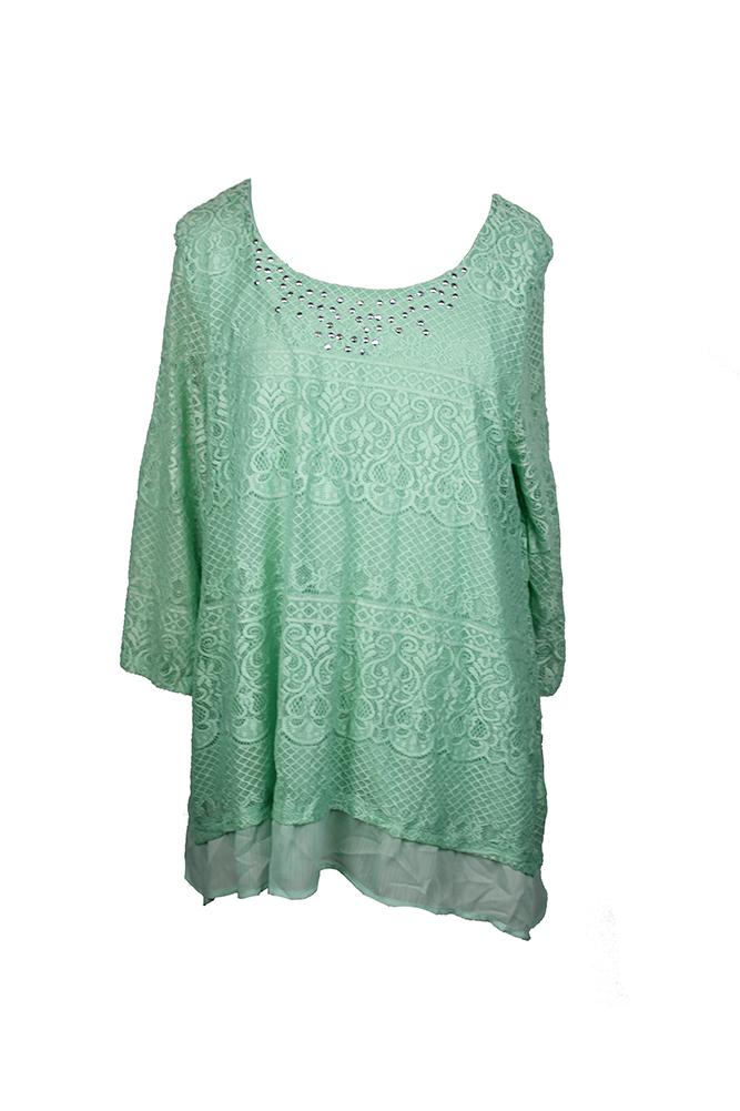 Jm Collection Green Mint Lace Chiffon-Hem Top  XXL