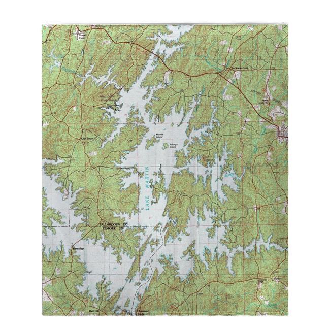 Betsy Drake BK975 50 x 60 in. Lake Martin, AL Nautical Map Fleece Throw