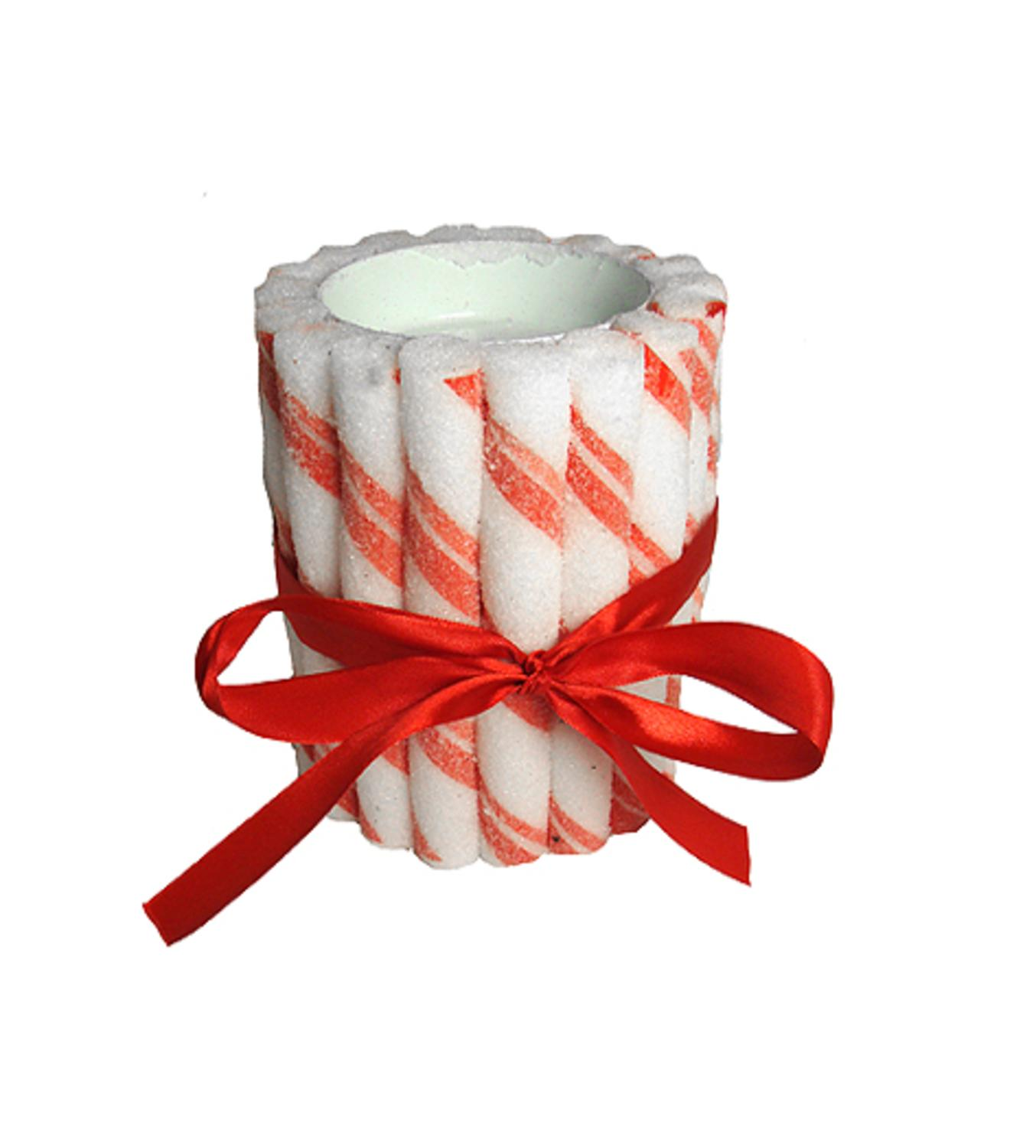 "3"" Peppermint Twist Sugared Candy Tealight Candle Holder"
