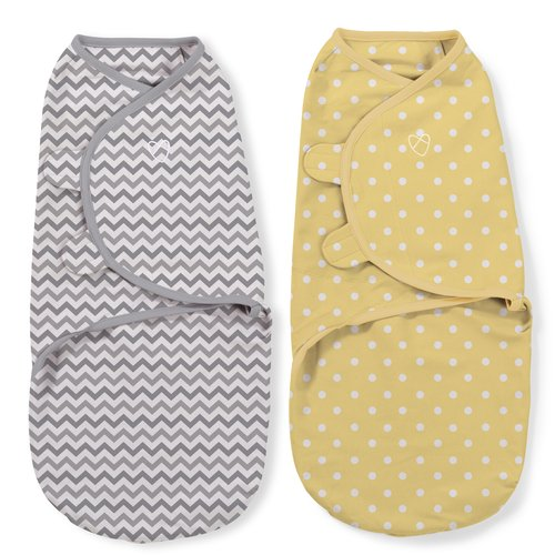Garanimals SwaddleMe 2 Pack, Gray Chevron and Yellow Dots