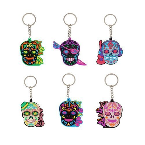 PTC StealStreet 10018 Assorted Metal Day of The Dead Sugar Skull Keychains (6 Pack)