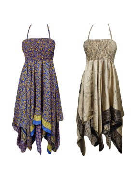 Mogul Lot Of 2 Womens Sundress Halter Neck Handkerchief Hem Blue Beige Recycled Printed Sexy Boho Chic Sari Summer Dresses XS