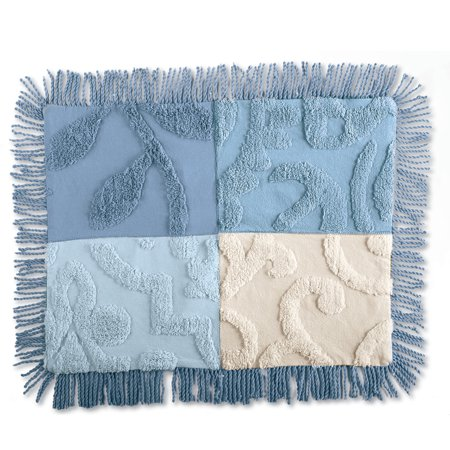 Blair Chenille Patchwork Pillow Sham, Sham, Blue
