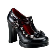 4 Inch Womens Gothic Shoes Studs Bow Pump Mary Janes Chunky Heel