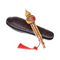 Treble C-Key Hulusi Cucurbit Flute Bottle Gourd Silk Bamboo Pipes Chinese Traditional Instrument with Chinese Knot Carry Case