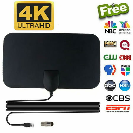 Indoor TV Antenna HDTV Antenna,2019 Newest Indoor Digital TV Antenna 70+ Miles Range with Amplifier Signal Booster 4K HD Free Local Channels Support All Television