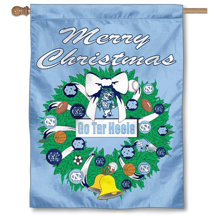 University of North Carolina Tar Heels Merry Christmas Banner Flag