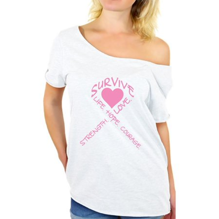 Survive Heart Off Shoulder T-shirt Cancer t shirt breast cancer awareness t shirt faith love life hope believe support survivor gifts tackle I wear pink for mom dad grandpa grandma think pink ribbon