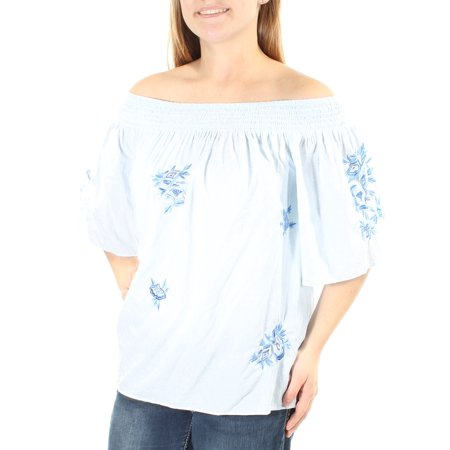 INC Womens Light Blue Embroidered Floral Kimono Sleeve Off Shoulder Top  Size: M - Light Blue Toms