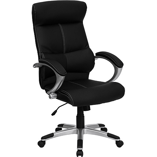 leather executive high-back office chair with white stitching