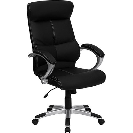 Leather Executive High Back Office Chair With White Stitching  Black