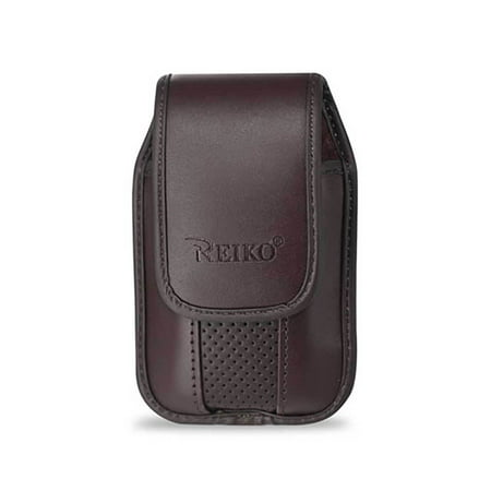 Nyc Leather (Brown Leather vertical pinch clip case with magnetic snap fits Kyocera Cadence)