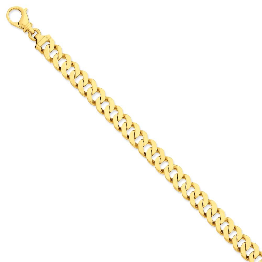 14k Yellow Gold 8.5in 9.75mm Hand Polished Fancy Mens Link Bracelet