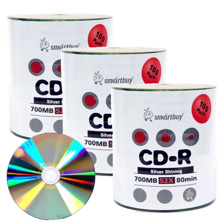 300 Blank (300 Pack Smartbuy 52X CD-R 700MB 80Min Shiny Silver (Non-Printable) Data Blank Media Recordable Disc)