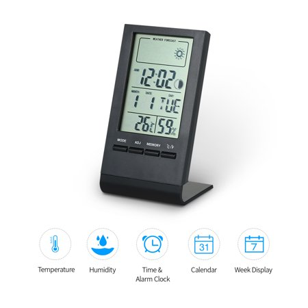 Mini Digital Thermometer Indoor Hygrometer Room ?/? Temperature Humidity Monitor Meter Gauge Alarm Clock Thermo-Hygrometer with Max Min Value Display