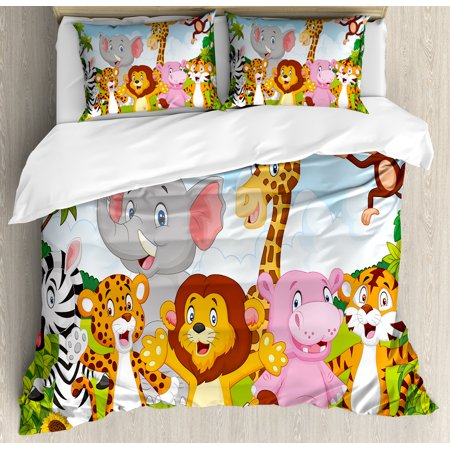 Nursery Duvet Cover Set, Comic African Savannah Animals Playful Friendly Safari Jungle Happy Wildlife Nature, Decorative Bedding Set with Pillow Shams, Multicolor, by Ambesonne ()