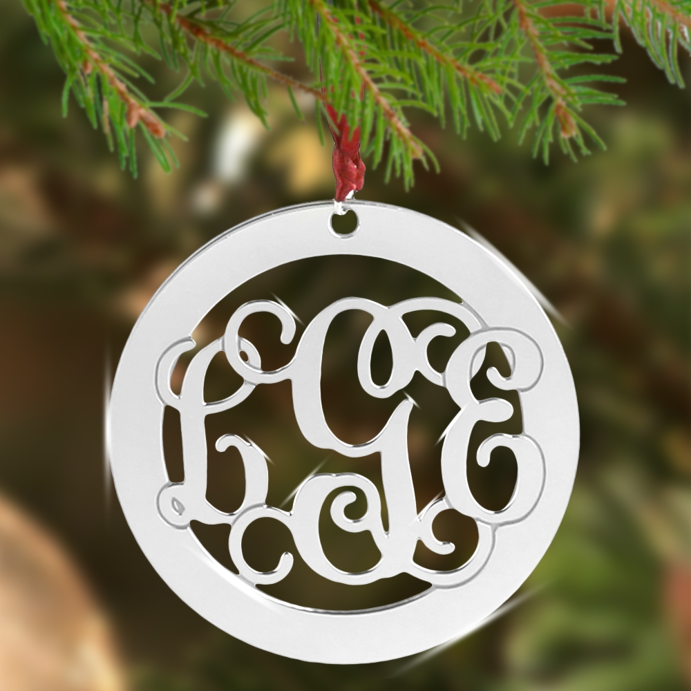 Personalized Silver Tone Monogram Christmas Ornament
