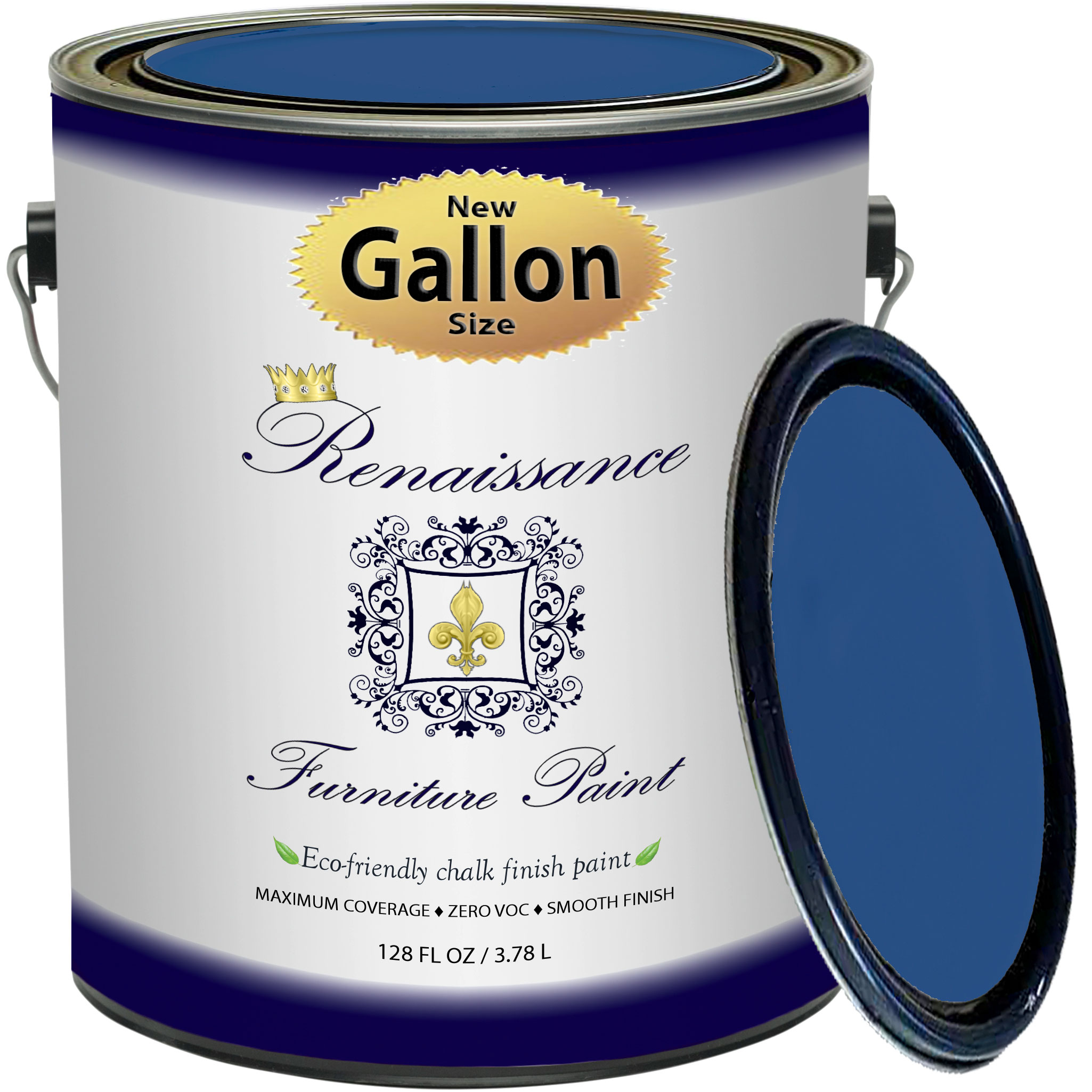 Renaissance Chalk Finish Paint - Ultramarine Gallon (128oz) - Chalk Furniture & Cabinet Paint - Non Toxic, Eco-Friendly, Superior Coverage