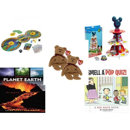 Curly Beanie Baby - Children's Gift Bundle [5 Piece] -  Scene it Jr. DVD  - Wilton Mickey Mouse Clubhouse Cupcake Stand Kit  - Pair of Ty Beanie Babies Curly the Bear  - Questions & Answers: Planet Earth: Learn About O