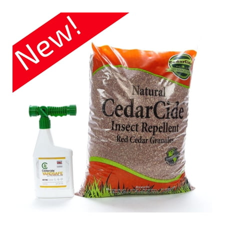 Cedarcide Outdoor Lawn and Garden Treatment Kit (Small) Includes Yarsafe Cedar Oil Bug Killing Ready-to-Use Quart and Insect Repelling Granules Kills and Repels Fleas, Ants, Mites,