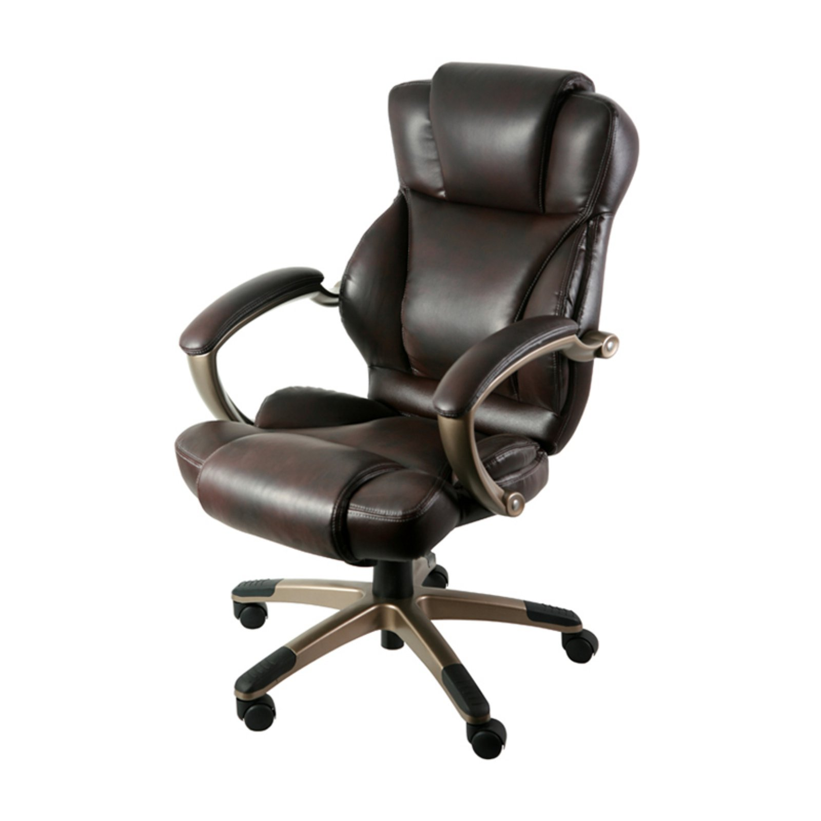 Black Executive High Back Leather Office Chair With Champagne Finished Base
