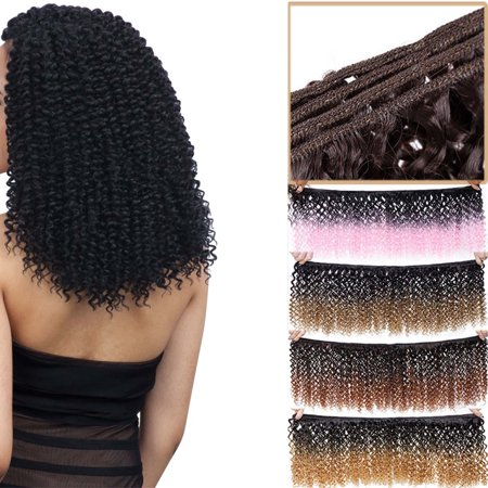 S-noilite 8 inch Weave Hair Extension Afro Kinky Curly Weft Hair Weave Bundles Synthetic Braid Hair Mambo Twist Ombre Hair for Women Dark black-120g