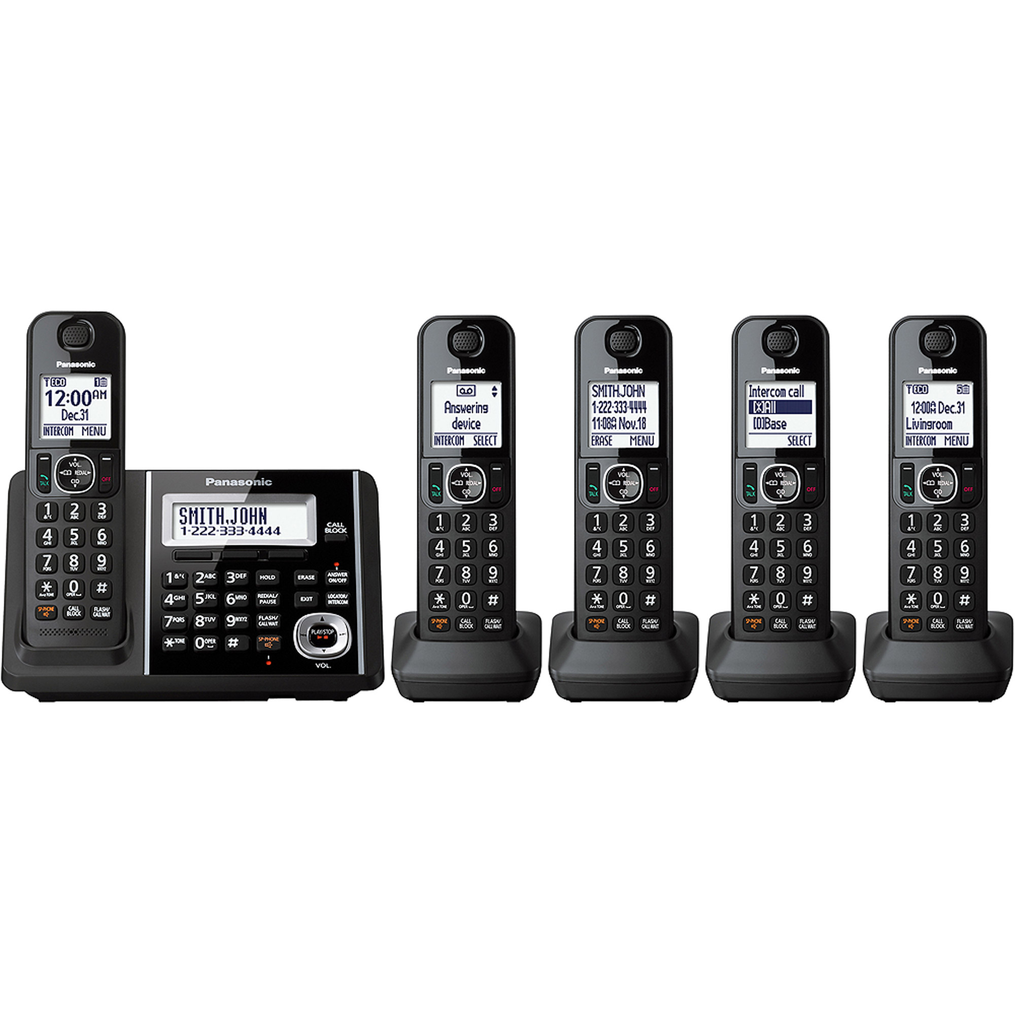 Panasonic Cordless Phone and Answering Machine with 5 Handsets by Panasonic