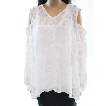edc72b58d9b7f Alfani NEW White Women s Size 16W Plus Cold-Shoulder V-Neck Blouse ...