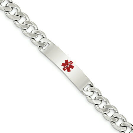 Sterling Silver Engravable 8.5in Polished Medical Curb Mens Link ID (Polished Medical Bracelet)