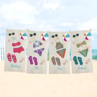 Personalized Bathing Beauty Beach Towel - Available in 4 Colors