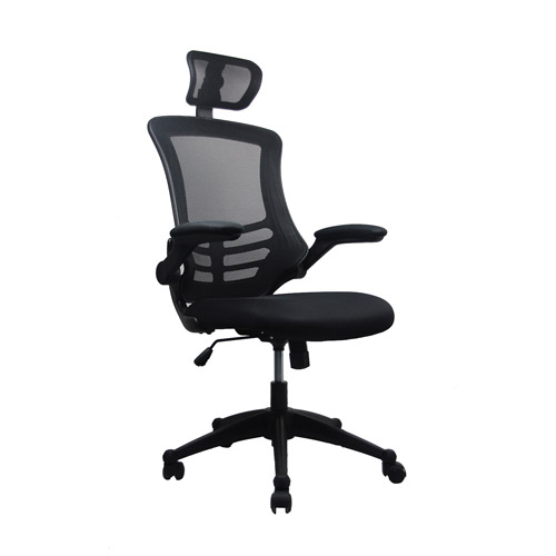 Techni Mobili Mesh HighBack Chair with FlipUp Arms and Headrest
