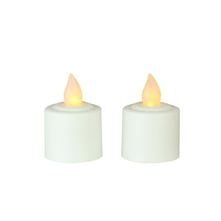 Pack of 2 White Battery Operated LED Flickering Amber Lighted Christmas Votive Candles 1.5